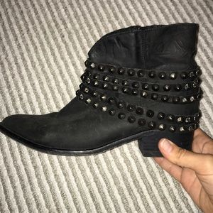 Black studded booties